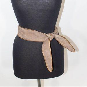 Suede Tie Belt in Dusty Rose
